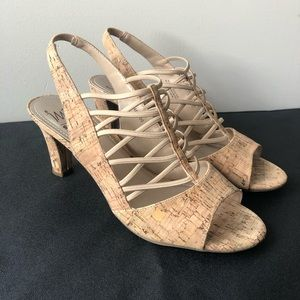IMPO Real Cork Criss Cross Heels in Size 8